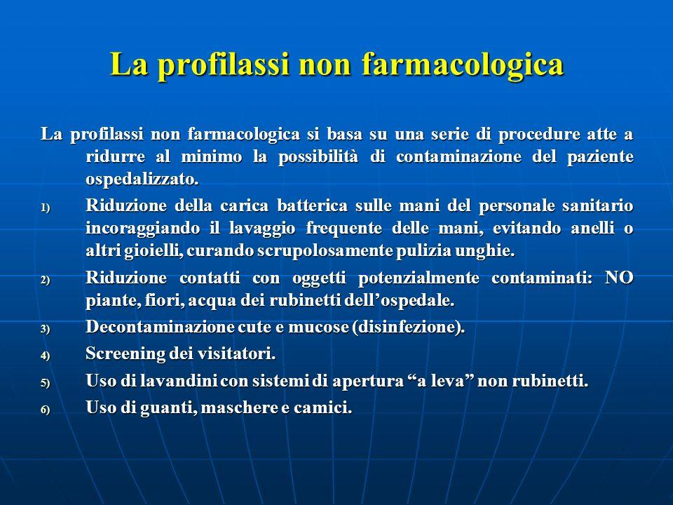 La profilassi non farmacologica La profilassi non farmacologica si basa su una serie di procedure atte a ridurre al minimo la possibilità di contamina