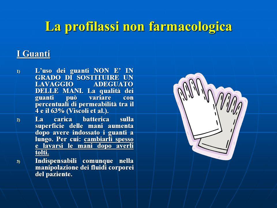La profilassi non farmacologica I Guanti 1) Luso dei guanti NON E IN GRADO DI SOSTITUIRE UN LAVAGGIO ADEGUATO DELLE MANI. La qualità dei guanti può va