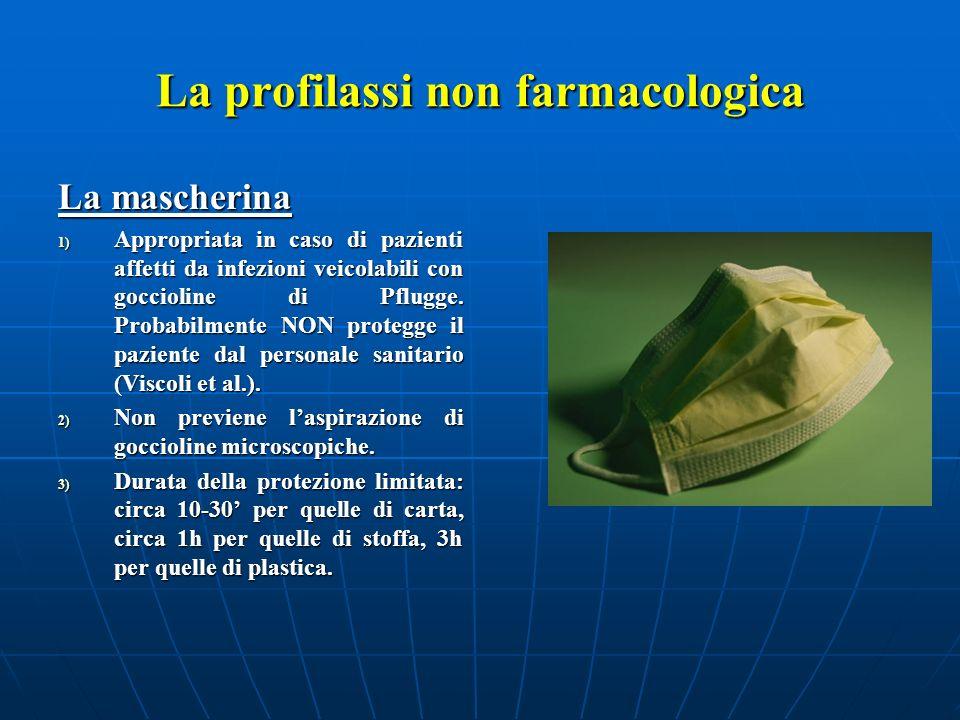 La profilassi non farmacologica La mascherina 1) Appropriata in caso di pazienti affetti da infezioni veicolabili con goccioline di Pflugge. Probabilm