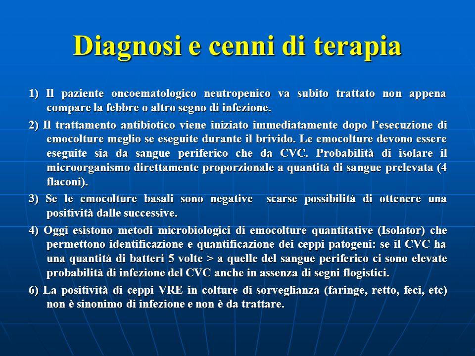 Diagnosi e cenni di terapia 1) Il paziente oncoematologico neutropenico va subito trattato non appena compare la febbre o altro segno di infezione. 2)