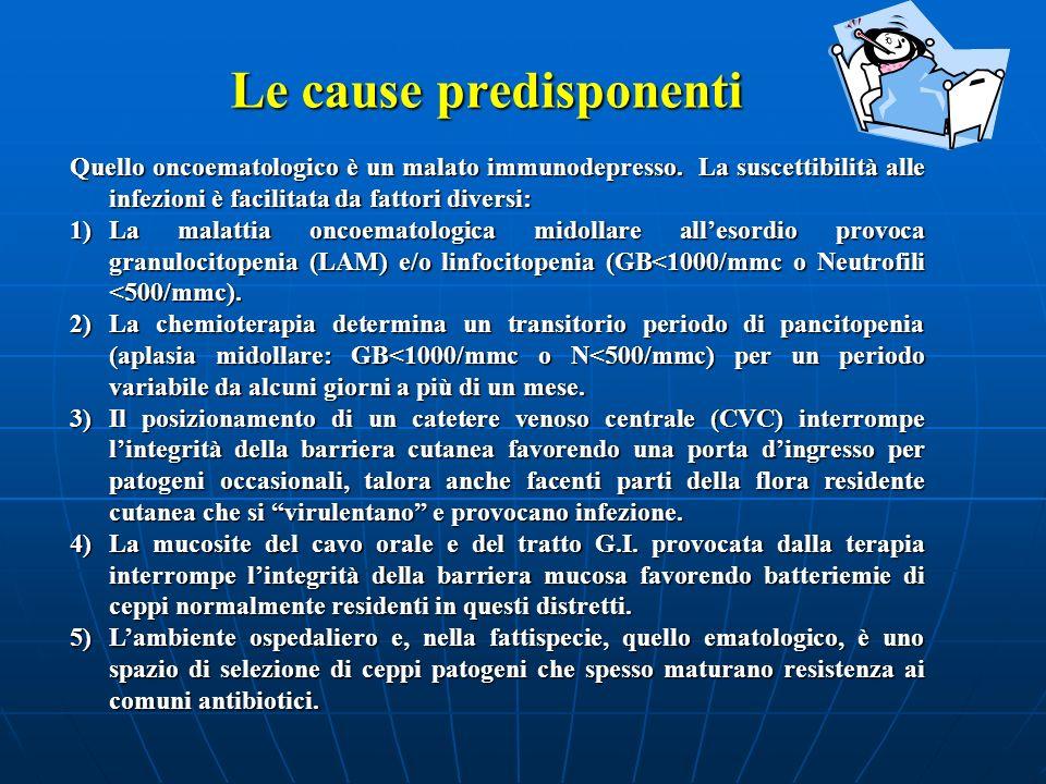 Le cause predisponenti Quello oncoematologico è un malato immunodepresso. La suscettibilità alle infezioni è facilitata da fattori diversi: 1)La malat
