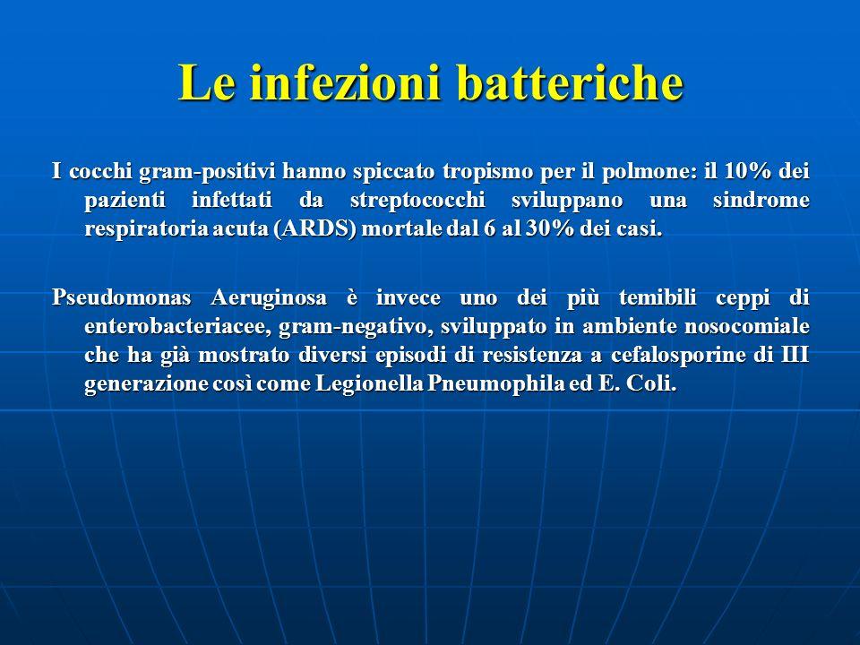 Le infezioni batteriche I cocchi gram-positivi hanno spiccato tropismo per il polmone: il 10% dei pazienti infettati da streptococchi sviluppano una s