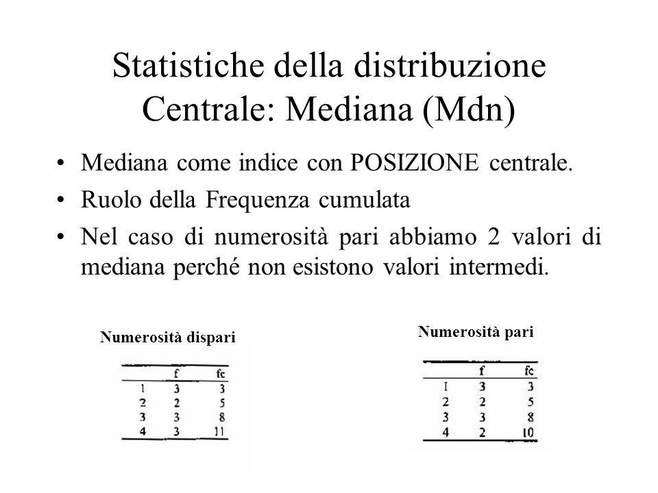 Mediana come indice con POSIZIONE centrale. Ruolo della Frequenza cumulata Nel caso di numerosità pari abbiamo 2 valori di mediana perché non esistono