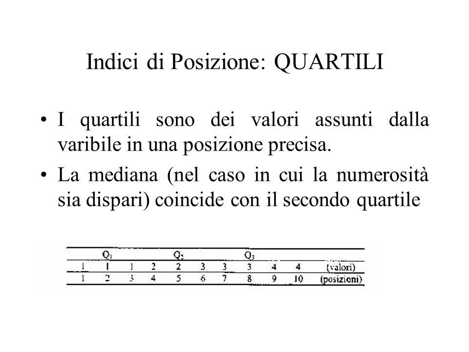 I quartili sono dei valori assunti dalla varibile in una posizione precisa. La mediana (nel caso in cui la numerosità sia dispari) coincide con il sec