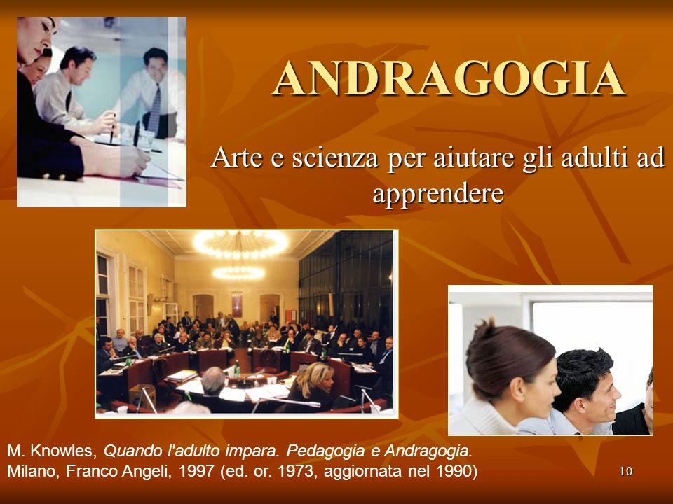 10 ANDRAGOGIA Arte e scienza per aiutare gli adulti ad apprendere M. Knowles, Quando l'adulto impara. Pedagogia e Andragogia. Milano, Franco Angeli, 1