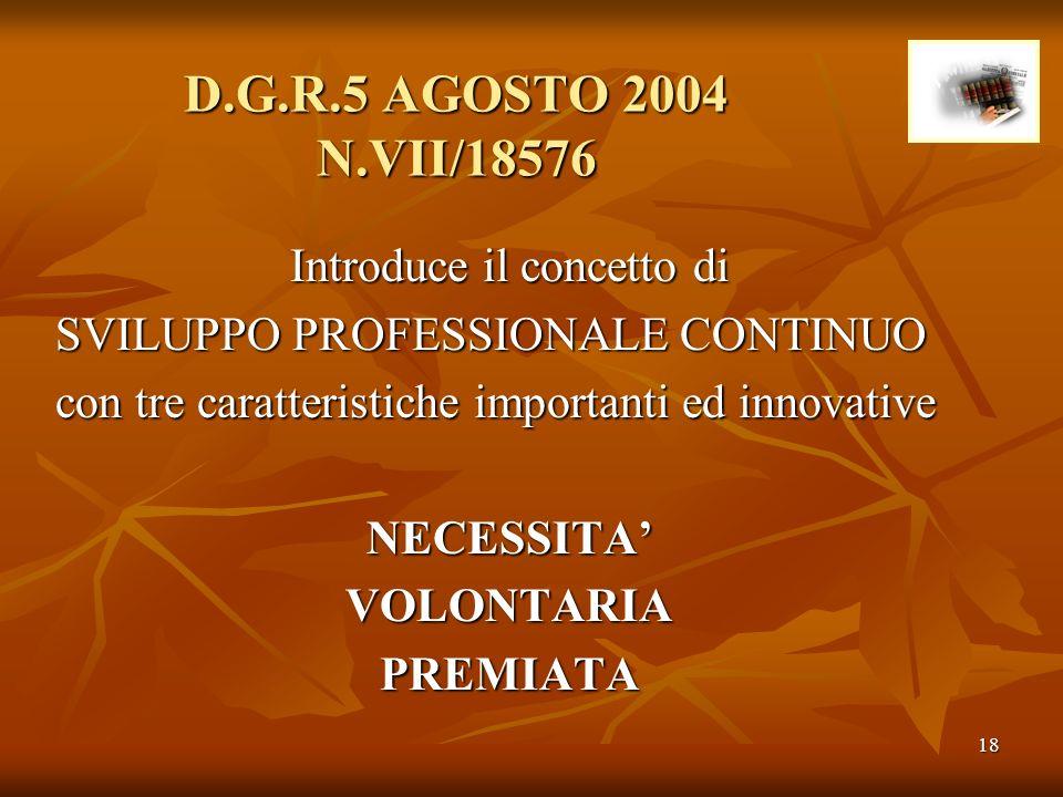 18 D.G.R.5 AGOSTO 2004 N.VII/18576 Introduce il concetto di SVILUPPO PROFESSIONALE CONTINUO con tre caratteristiche importanti ed innovative NECESSITA