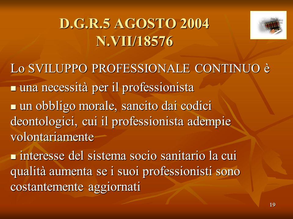 19 D.G.R.5 AGOSTO 2004 N.VII/18576 Lo SVILUPPO PROFESSIONALE CONTINUO è una necessità per il professionista una necessità per il professionista un obb