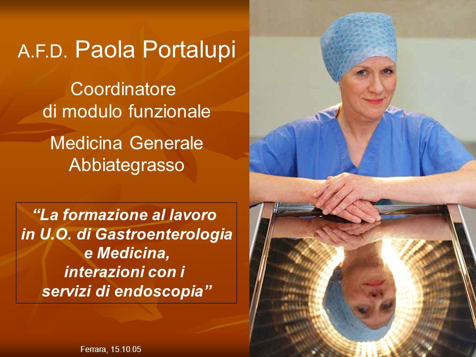 2 A.F.D. Paola Portalupi Coordinatore di modulo funzionale Medicina Generale Abbiategrasso La formazione al lavoro in U.O. di Gastroenterologia e Medi