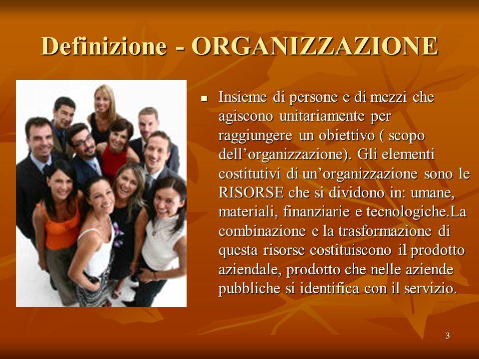 3 Definizione - ORGANIZZAZIONE Insieme di persone e di mezzi che agiscono unitariamente per raggiungere un obiettivo ( scopo dellorganizzazione). Gli