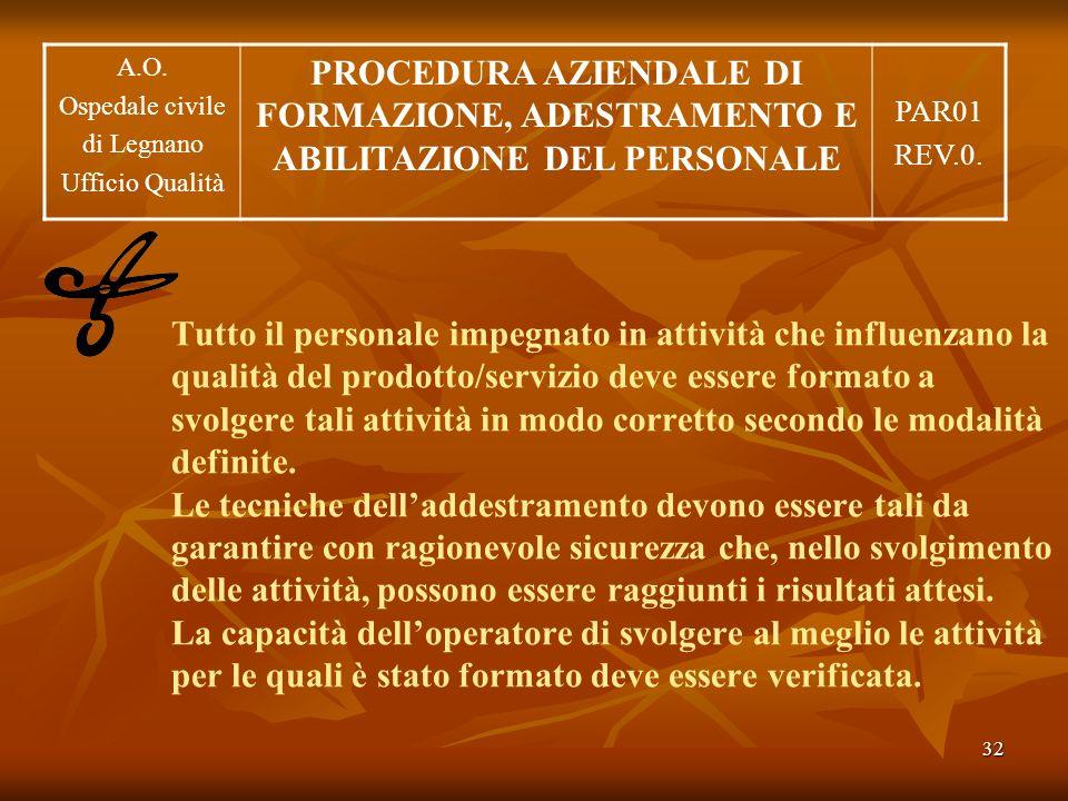 32 Tutto il personale impegnato in attività che influenzano la qualità del prodotto/servizio deve essere formato a svolgere tali attività in modo corr