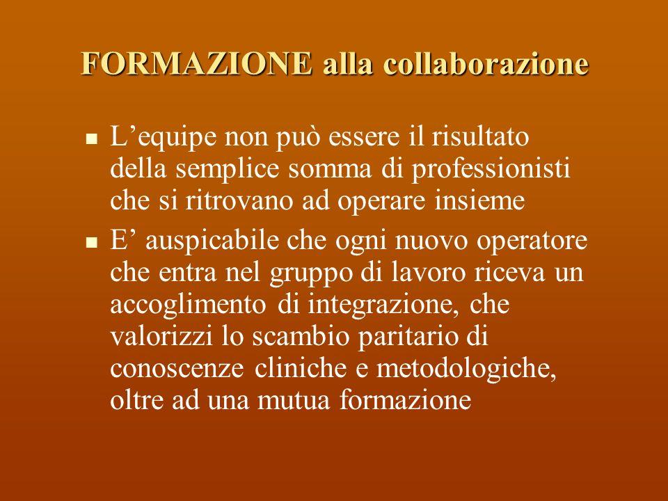 Lequipe non può essere il risultato della semplice somma di professionisti che si ritrovano ad operare insieme E auspicabile che ogni nuovo operatore