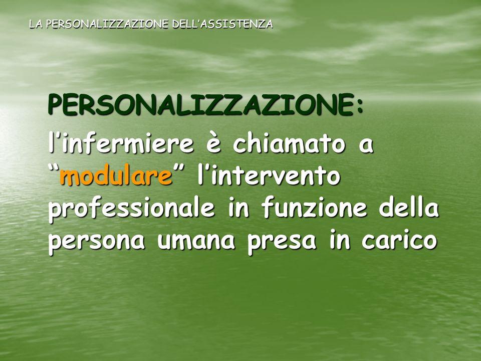 LA PERSONALIZZAZIONE DELLASSISTENZA PERSONALIZZAZIONE: linfermiere è chiamato amodulare lintervento professionale in funzione della persona umana pres