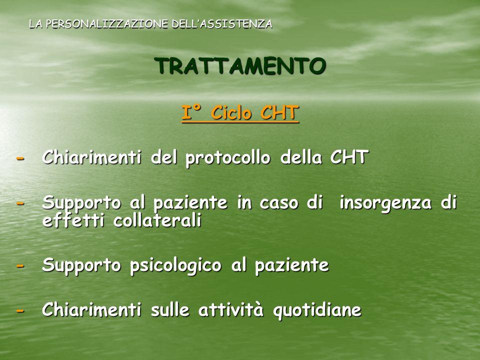 LA PERSONALIZZAZIONE DELLASSISTENZA TRATTAMENTO I° Ciclo CHT - Chiarimenti del protocollo della CHT - Supporto al paziente in caso di insorgenza di ef