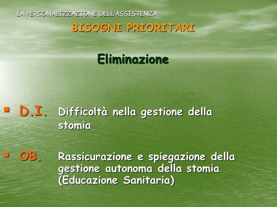 LA PERSONALIZZAZIONE DELLASSISTENZA BISOGNI PRIORITARI Eliminazione D.I. Difficoltà nella gestione della stomia D.I. Difficoltà nella gestione della s