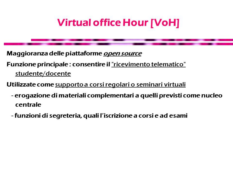 Virtual office Hour [VoH] Maggioranza delle piattaforme open source Funzione principale : consentire il