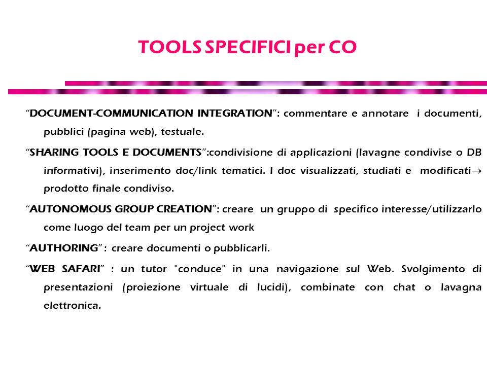 TOOLS SPECIFICI per CO DOCUMENT-COMMUNICATION INTEGRATION: commentare e annotare i documenti, pubblici (pagina web), testuale. SHARING TOOLS E DOCUMEN