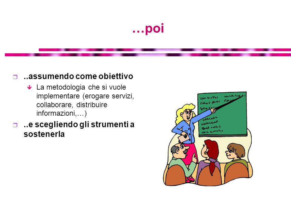 …poi..assumendo come obiettivo La metodologia che si vuole implementare (erogare servizi, collaborare, distribuire informazioni,…)..e scegliendo gli s