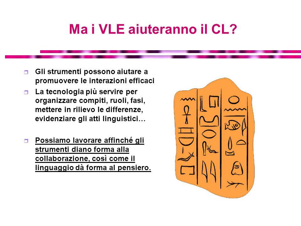 Ma i VLE aiuteranno il CL? Gli strumenti possono aiutare a promuovere le interazioni efficaci La tecnologia più servire per organizzare compiti, ruoli