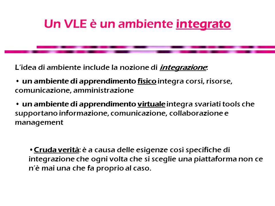 Un VLE è un ambiente integrato Lidea di ambiente include la nozione di integrazione: un ambiente di apprendimento fisico integra corsi, risorse, comun