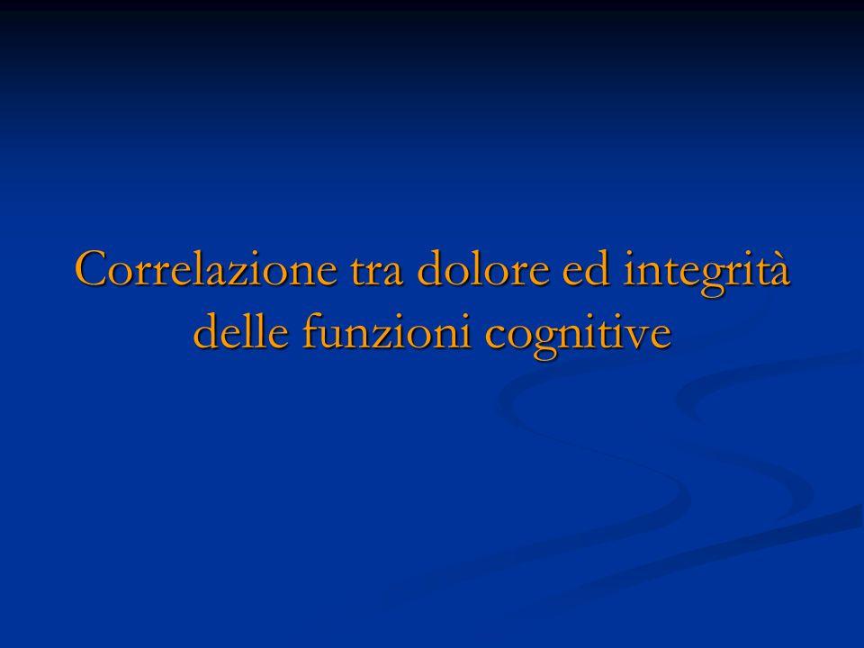 Correlazione tra dolore ed integrità delle funzioni cognitive
