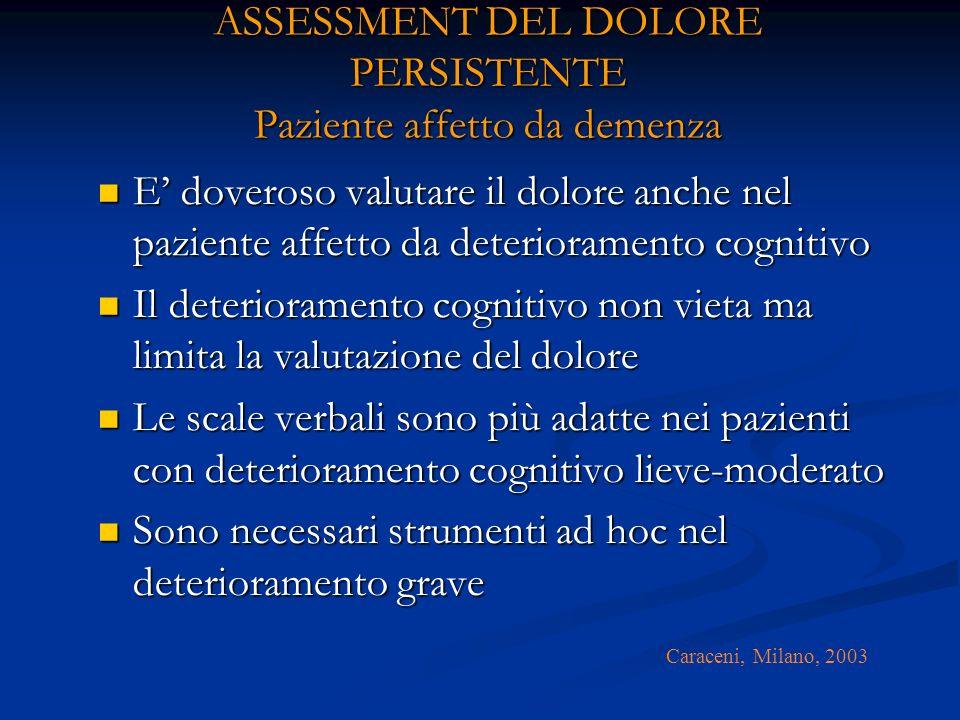 ASSESSMENT DEL DOLORE PERSISTENTE Paziente affetto da demenza E doveroso valutare il dolore anche nel paziente affetto da deterioramento cognitivo E doveroso valutare il dolore anche nel paziente affetto da deterioramento cognitivo Il deterioramento cognitivo non vieta ma limita la valutazione del dolore Il deterioramento cognitivo non vieta ma limita la valutazione del dolore Le scale verbali sono più adatte nei pazienti con deterioramento cognitivo lieve-moderato Le scale verbali sono più adatte nei pazienti con deterioramento cognitivo lieve-moderato Sono necessari strumenti ad hoc nel deterioramento grave Sono necessari strumenti ad hoc nel deterioramento grave Caraceni, Milano, 2003