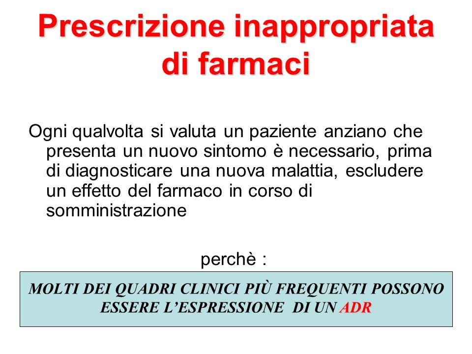 Prescrizione inappropriata di farmaci Ogni qualvolta si valuta un paziente anziano che presenta un nuovo sintomo è necessario, prima di diagnosticare