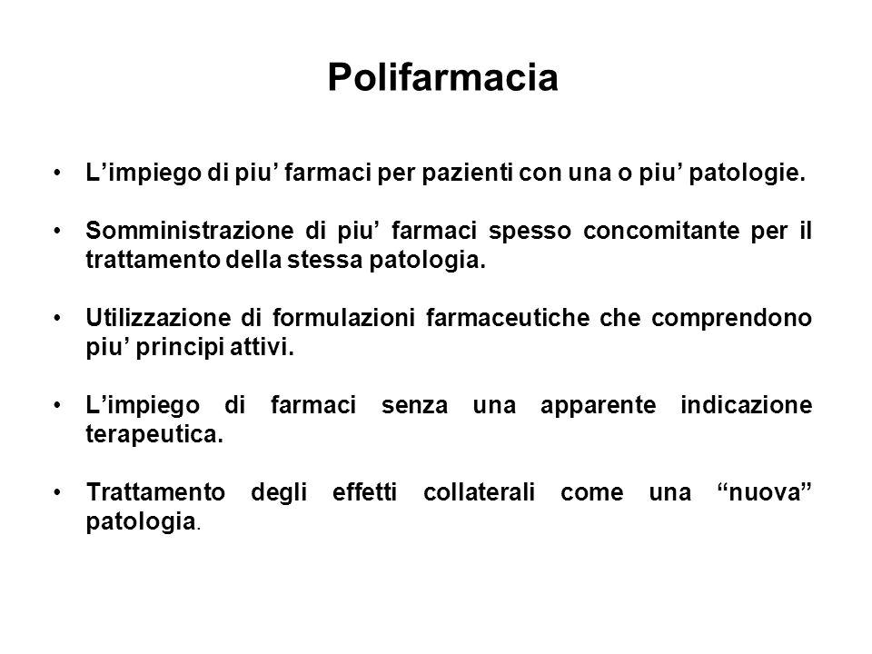 Polifarmacia Limpiego di piu farmaci per pazienti con una o piu patologie. Somministrazione di piu farmaci spesso concomitante per il trattamento dell
