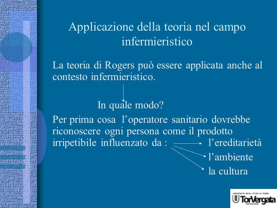 Applicazione della teoria nel campo infermieristico La teoria di Rogers può essere applicata anche al contesto infermieristico.