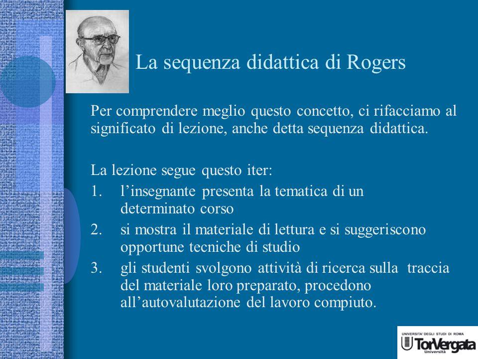 La sequenza didattica di Rogers Per comprendere meglio questo concetto, ci rifacciamo al significato di lezione, anche detta sequenza didattica.