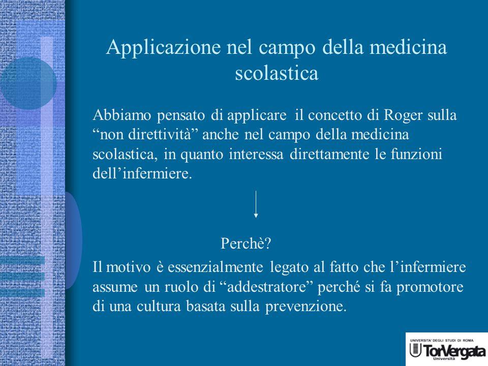 Applicazione nel campo della medicina scolastica Abbiamo pensato di applicare il concetto di Roger sulla non direttività anche nel campo della medicina scolastica, in quanto interessa direttamente le funzioni dellinfermiere.