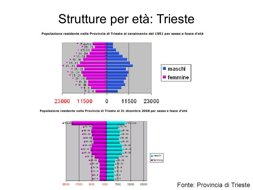 Strutture per età: Trieste Fonte: Provincia di Trieste