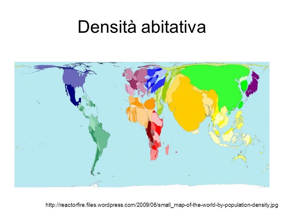 Densità abitativa In Italia la densità di popolazione media nel 2008 è di circa 200 abitanti per kmq.
