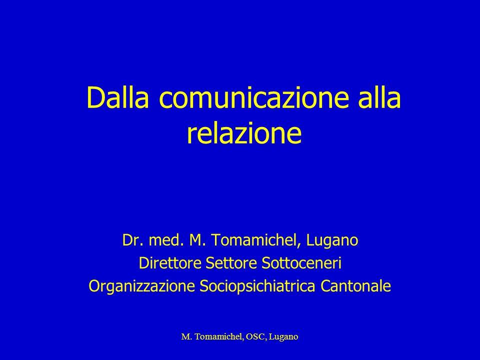 M. Tomamichel, OSC, Lugano Dalla comunicazione alla relazione Dr. med. M. Tomamichel, Lugano Direttore Settore Sottoceneri Organizzazione Sociopsichia