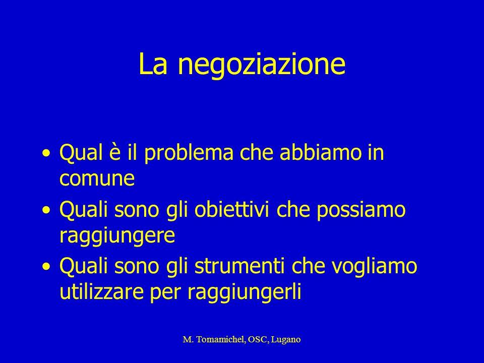 M. Tomamichel, OSC, Lugano La negoziazione Qual è il problema che abbiamo in comune Quali sono gli obiettivi che possiamo raggiungere Quali sono gli s