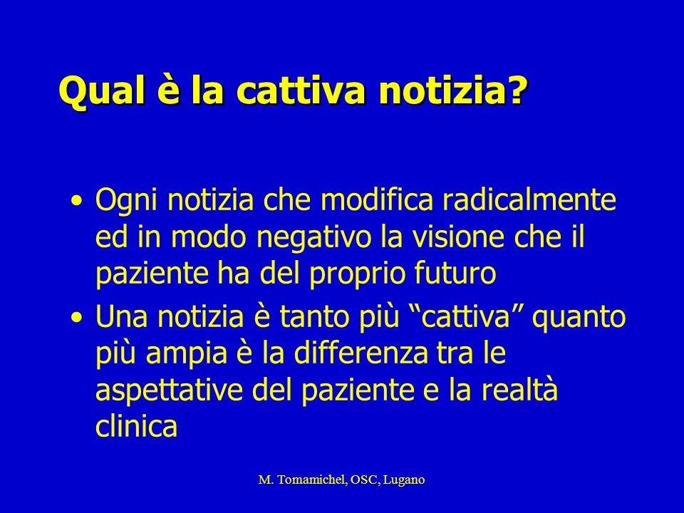 M. Tomamichel, OSC, Lugano Qual è la cattiva notizia? Ogni notizia che modifica radicalmente ed in modo negativo la visione che il paziente ha del pro