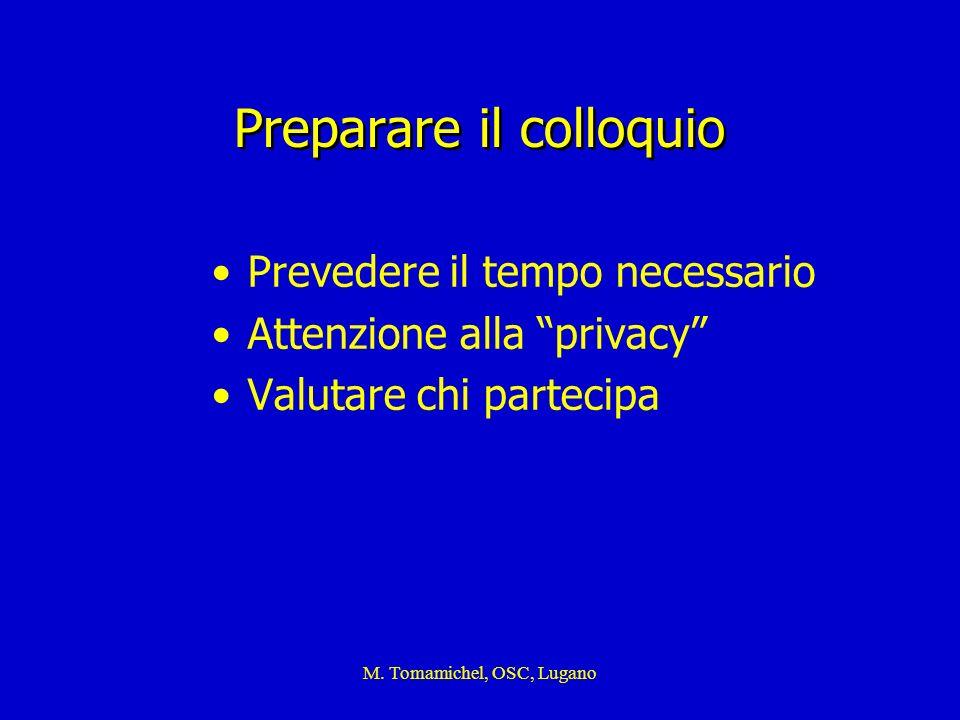 M. Tomamichel, OSC, Lugano Preparare il colloquio Prevedere il tempo necessario Attenzione alla privacy Valutare chi partecipa