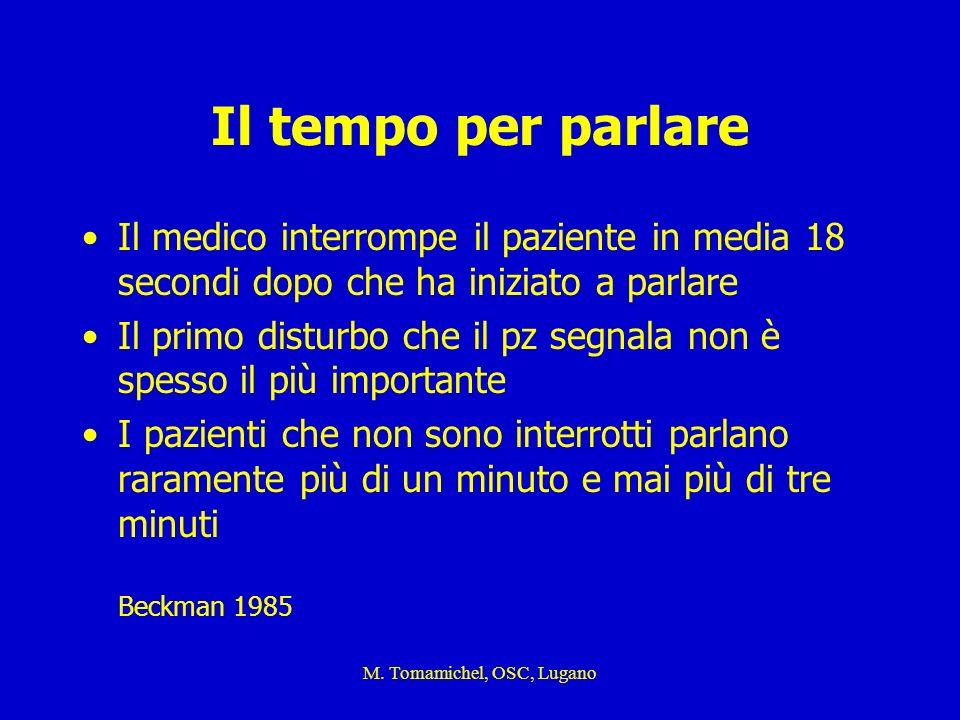 M. Tomamichel, OSC, Lugano Il tempo per parlare Il medico interrompe il paziente in media 18 secondi dopo che ha iniziato a parlare Il primo disturbo