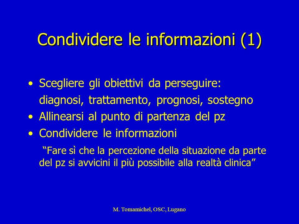 M. Tomamichel, OSC, Lugano Condividere le informazioni (1) Scegliere gli obiettivi da perseguire: diagnosi, trattamento, prognosi, sostegno Allinearsi