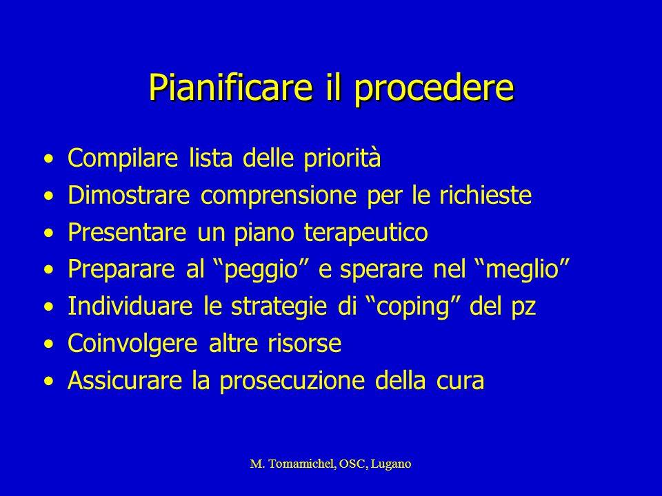M. Tomamichel, OSC, Lugano Pianificare il procedere Compilare lista delle priorità Dimostrare comprensione per le richieste Presentare un piano terape