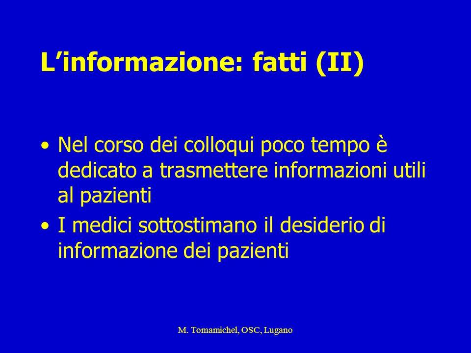 M. Tomamichel, OSC, Lugano Linformazione: fatti (II) Nel corso dei colloqui poco tempo è dedicato a trasmettere informazioni utili al pazienti I medic