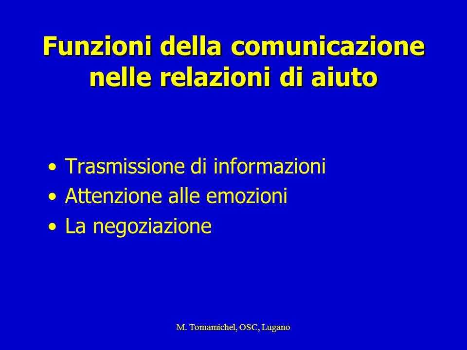 M. Tomamichel, OSC, Lugano Funzioni della comunicazione nelle relazioni di aiuto Trasmissione di informazioni Attenzione alle emozioni La negoziazione