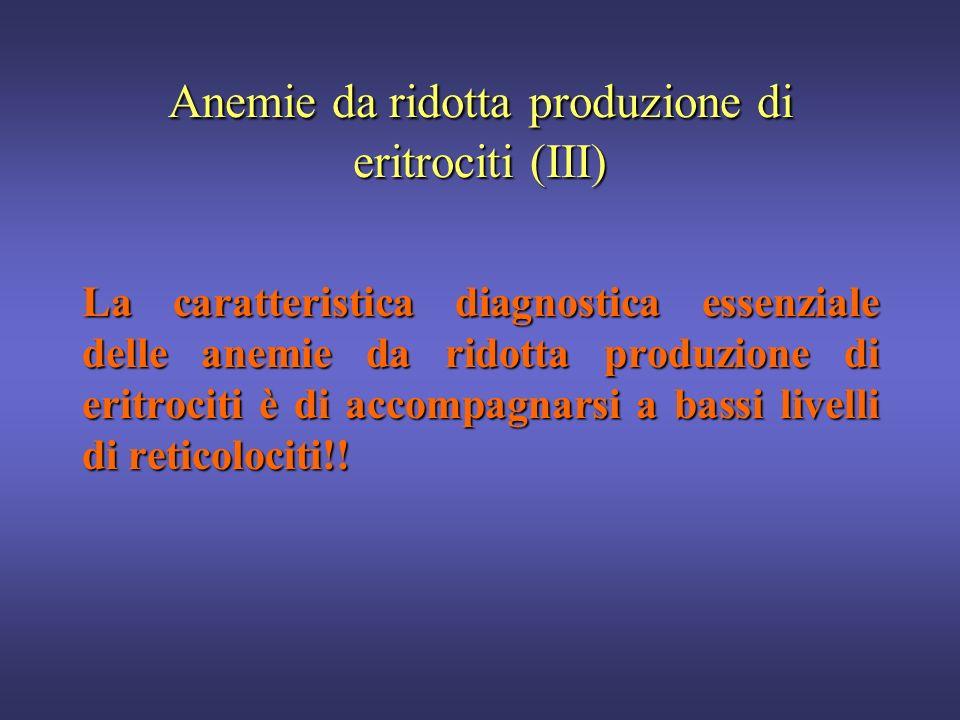 Anemie da ridotta produzione di eritrociti (II) Microcitiche (MCV<80)Microcitiche (MCV<80) Anemia da carenza di ferro o sideropenica (difettosa sintes