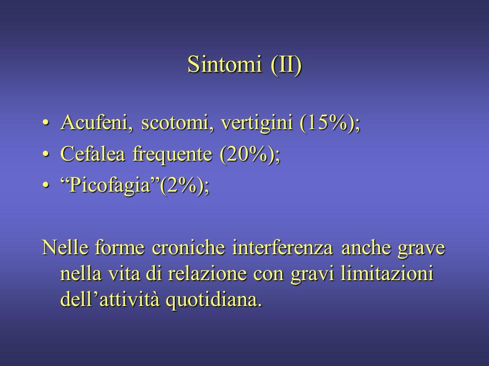 Sintomi (I) Astenia (80%);Astenia (80%); Difficoltà di concentrazione; scarso rendimento scolastico o lavorativo (70%);Difficoltà di concentrazione; s