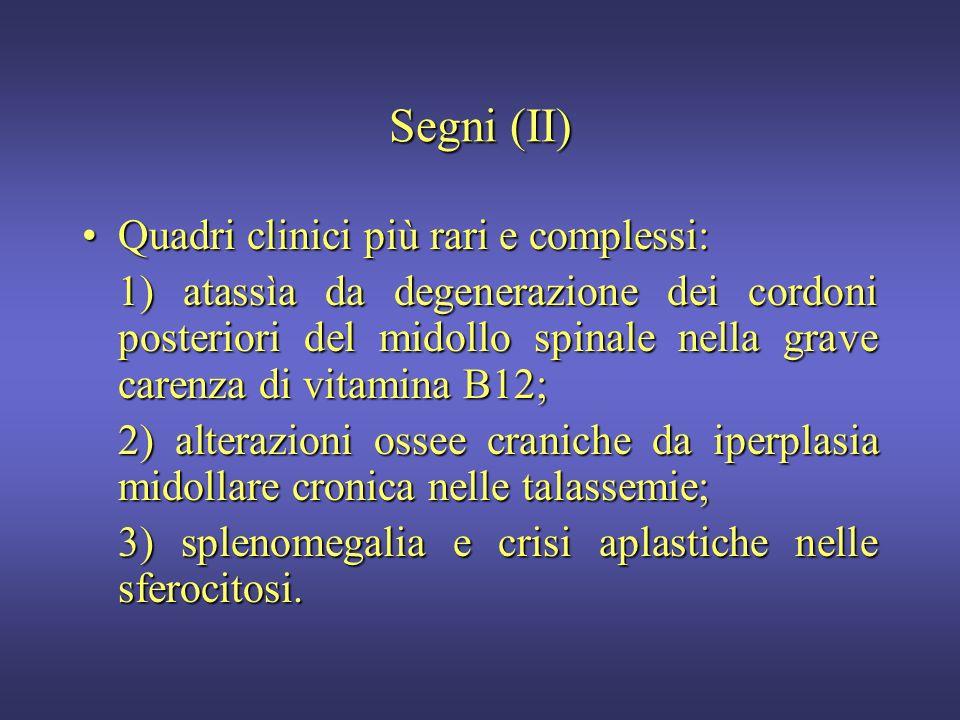 Segni (I) Pallore di cute e mucose (labbra, letto ungueale, congiuntiva) (80%);Pallore di cute e mucose (labbra, letto ungueale, congiuntiva) (80%); D