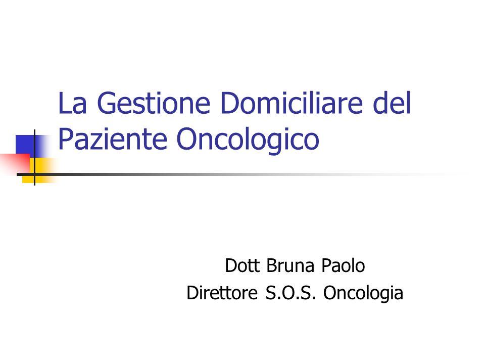 La Gestione Domiciliare del Paziente Oncologico Dott Bruna Paolo Direttore S.O.S. Oncologia