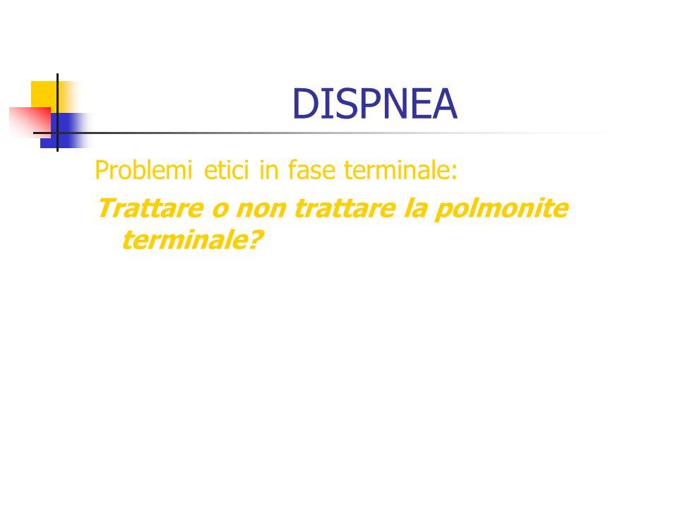 DISPNEA Problemi etici in fase terminale: Trattare o non trattare la polmonite terminale?