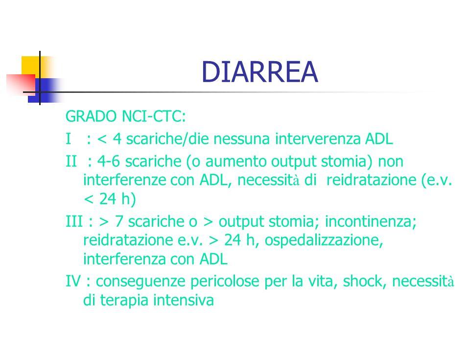 DIARREA GRADO NCI-CTC: I : < 4 scariche/die nessuna interverenza ADL II : 4-6 scariche (o aumento output stomia) non interferenze con ADL, necessit à