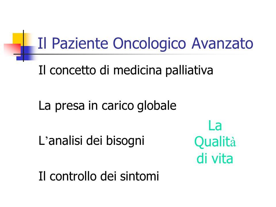 Il Paziente Oncologico Avanzato Il concetto di medicina palliativa La presa in carico globale L analisi dei bisogni Il controllo dei sintomi La Qualit