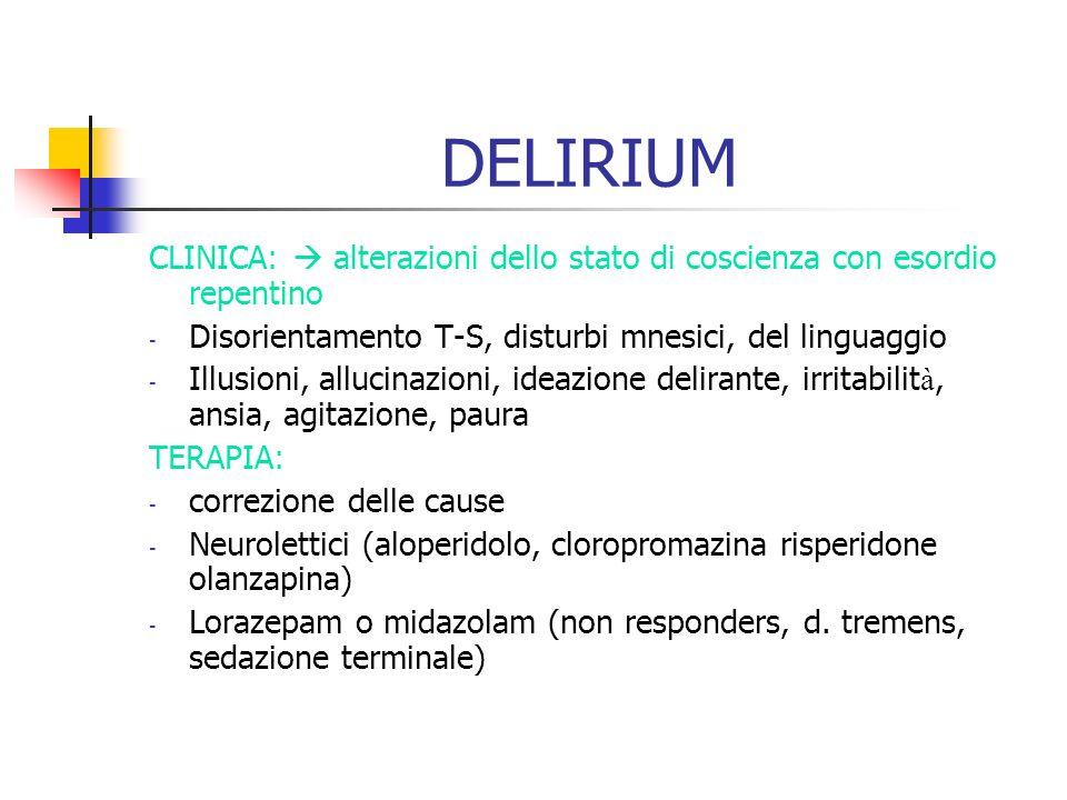 DELIRIUM CLINICA: alterazioni dello stato di coscienza con esordio repentino - Disorientamento T-S, disturbi mnesici, del linguaggio - Illusioni, allu