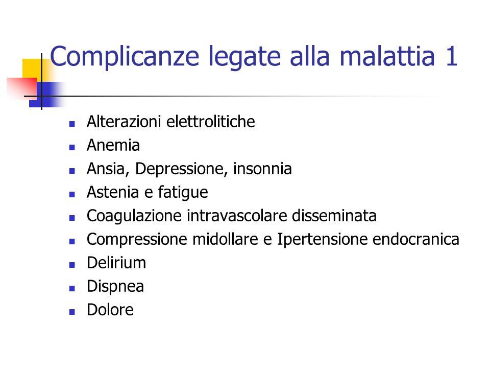Complicanze legate alla malattia 1 Alterazioni elettrolitiche Anemia Ansia, Depressione, insonnia Astenia e fatigue Coagulazione intravascolare dissem